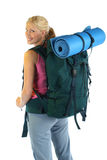 Hiking / Backpaking girl ready for adventure Stock Photo