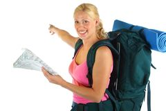 Hiking / Backpaking girl ready for adventure Royalty Free Stock Image