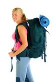 Hiking / Backpaking girl ready for adventure Royalty Free Stock Photos