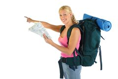 Hiking / Backpaking girl ready for adventure Royalty Free Stock Photo
