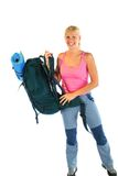 Hiking / Backpaking girl ready for adventure Stock Images