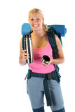 Hiking / Backpaking girl ready for adventure Stock Photography