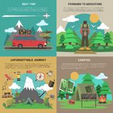 Hiking banner 4 flat icons square Royalty Free Stock Images