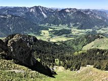 Hiking in Bavaria Germany Mountain Views/ Wandern in Bayern Berge. Hiking and landscape in Bavaria Germany Mountain Views/ Wandern in Bayern Berge Stock Photo