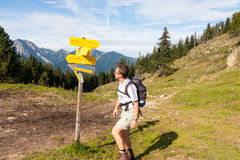 Hiking in Bavaria. Hiking the Wendelstein mountain in Bavaria, Germany Royalty Free Stock Photo
