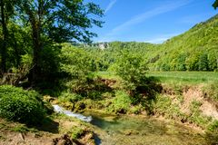 Hiking in beautiful landscape of Bad Urach, Swabian Alb, Baden-Wuerttemberg, Germany, Europe royalty free stock photo