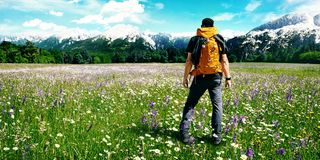 Hiking in a beautiful nature stock image