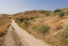 Hiking biking trail in Boise Idaho. Hiking and biking trail with dried grasses, rolling hills , sage and blue sky at camelback mountain in Idaho Royalty Free Stock Photos