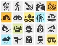 Hiking black icons set. trip, walking tour or Royalty Free Stock Images