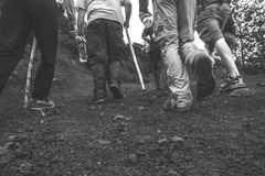 Hiking. Black And White Hiking On Pacaya Volcano Stock Images