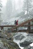 Hiking in blizard Stock Image