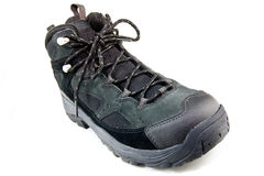 Hiking boot. Green and black Hiking boot on isolated white Royalty Free Stock Photo
