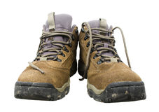 Hiking Boot. Dirt shoes working Royalty Free Stock Photos