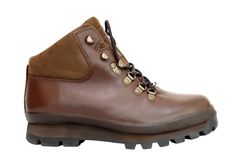 Hiking Boot. New brown leather hiking boot isolated on white Stock Images