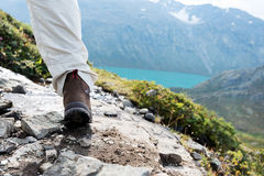 Hiking boot close up Stock Images