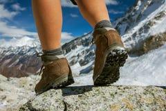 Hiking boot closeup Stock Photo