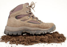 Hiking Boot On Dirt Royalty Free Stock Images