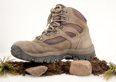 Hiking Boot On Dirt And Rocks Stock Image