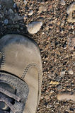 Hiking boot off-road shoe on hard arid dried soil, vertical close up, detailed macro of bare earth, dust, stones, rocks, pebbles Royalty Free Stock Photo