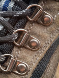 Hiking Boot shoelace eyelet detail Royalty Free Stock Photos