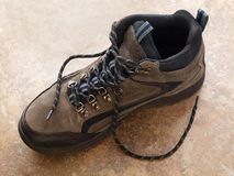 Hiking Boot with shoelace side view Royalty Free Stock Photo