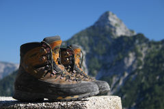 Hiking boots. In the mountains Stock Photography