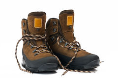 Hiking boots. A pair of new hiking boots on white background Stock Photography