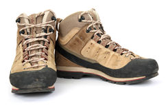 Hiking boots. On white background Royalty Free Stock Photography