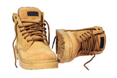 Hiking boots. Isolated over white with clipping path Royalty Free Stock Photo