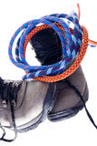 Hiking boots. Hiking and climbing equipment on white Royalty Free Stock Photo