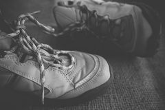 Hiking boots in black and white Stock Photos