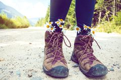 a hiking boots stock photography