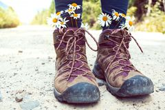 a hiking boots royalty free stock images