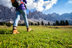 Hiking boots. Close-up. tourist walking at the Puez Odle. Italy Royalty Free Stock Photo