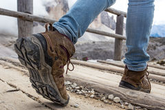 Hiking boots. Close-up. tourist walking on the trail. Italy Stock Image