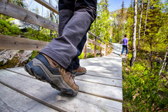 Hiking boots. Close-up. tourist walking on the trail. Norway Stock Photos
