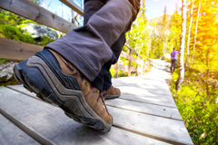 Hiking boots. Close-up. tourist walking on the trail. Norway stock image