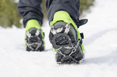 Hiking boots with crampon Royalty Free Stock Photo