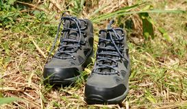 Hiking boots. For day hikes or weekend backpacking trips with light loads stock photography