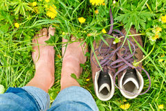 Hiking boots and feet royalty free stock photo
