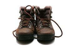 Hiking boots - front view Stock Images