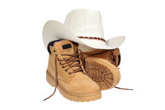 Hiking boots and hat Stock Image