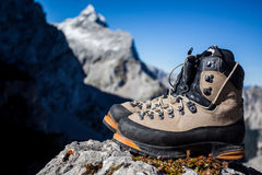 Hiking Boots. Heavy mountain boots in the mountain environment Stock Images