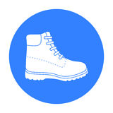Hiking boots icon in black style isolated on white background. Shoes symbol stock vector illustration. Stock Images