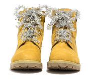 Hiking boots with laces Christmas. Isolated on white background Royalty Free Stock Image