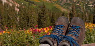 Hiking Boots Landscape Royalty Free Stock Photos