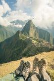 Hiking boots at Machu Picchu, Peru, toned image Stock Image