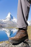 Hiking boots at the Matterhorn Stock Photos