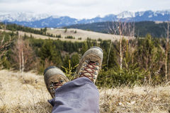 Hiking boots on mountain background Stock Image