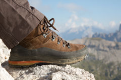 Hiking boots in the mountains Royalty Free Stock Photography